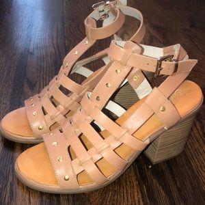Seychelles nude/tan block heels size 8 like new